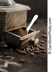 Fresh ground coffee grains