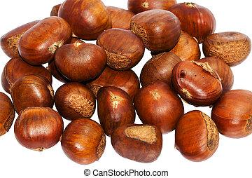 Fresh group chestnut on white background