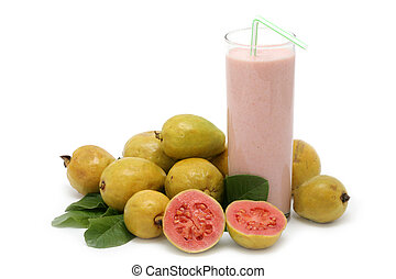 Fresh Guava fruit with leaves and milkshake on white background