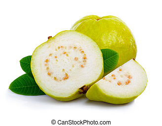 Fresh guava fruit with leaves and slices isolated white