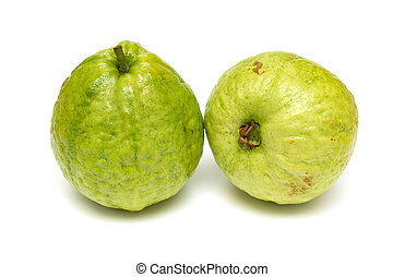 fresh guava fruits on a white background
