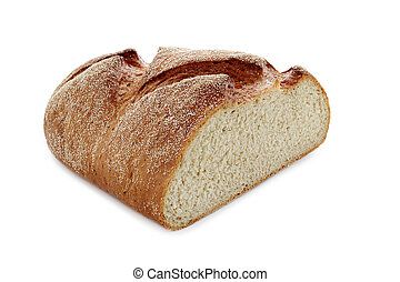 fresh half bread on white isolated background