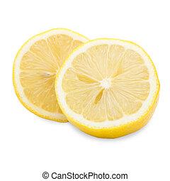 Fresh half lemon isolated on white background