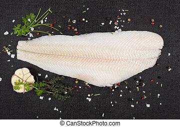 Fresh halibut fillet.