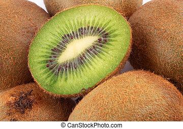 fresh halves and full kiwi fruit