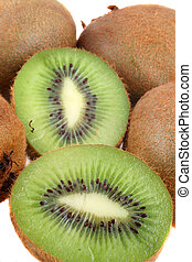 kiwi fruit - fresh halves and full kiwi fruit
