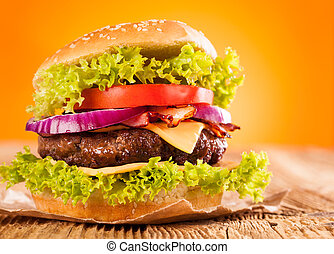 Fresh hamburger - Delicious hamburger on wood