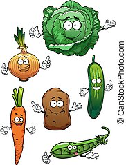Fresh healthful vegetables cartoon characters - Fresh...