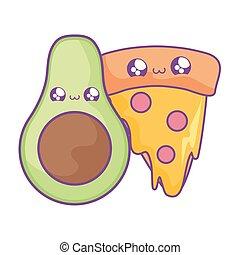 fresh healthy avocado with pizza slice kawaii style