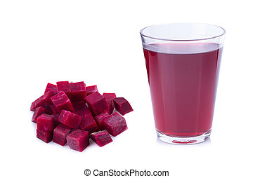 fresh healthy beetroot juice in glass on white background