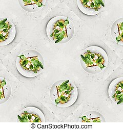 Fresh Healthy Breakfast Toast with egg avocado and green leaves, croque-madame, seamless pattern
