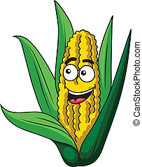 Fresh happy healthy corn on the cob with green leaves and a happy smiling face, isolated on white