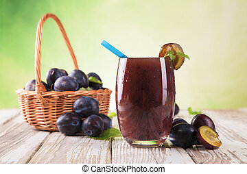 Fresh healthy drink - Fresh harvested plumes mixed into ...