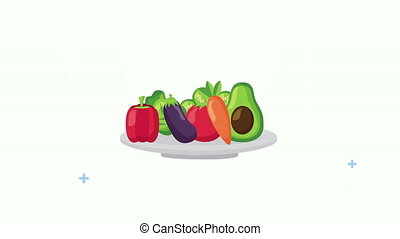 fresh healthy food in dish ,4k video animation