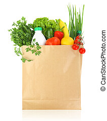 Fresh healthy groceries in a paper bag