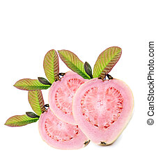 Fresh healthy pink quava fruit with leaves on a pure white background with space for text