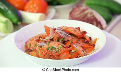 Fresh healthy salad with tomatoes and onions, summer...