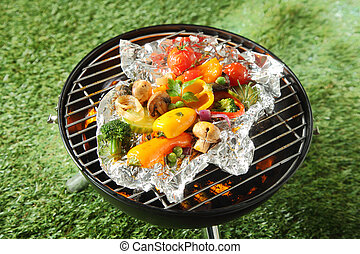 Fresh healthy selection of grilled vegetables
