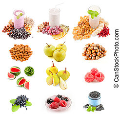 Fresh healthy smoothie with fruits, berries, nuts.