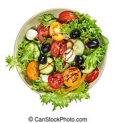 Fresh healthy vegetable salad with mozzarella