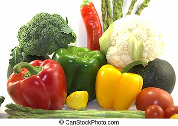 Fresh healthy vegetables on white background