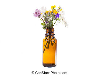Fresh herbs and flowers in a medical bottle.