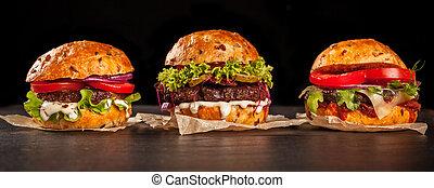 Fresh home-made hamburgers served on stone