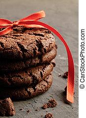 Fresh homemade crispy Cookies with chocolate