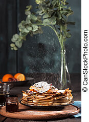 Fresh homemade french crepes made with eggs, milk and flour...