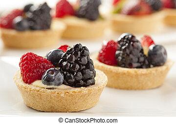 Fresh Homemade Fruit Tart with berries and kiwi