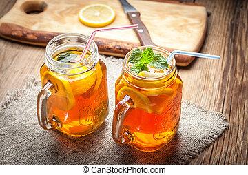 Fresh homemade ice tea.