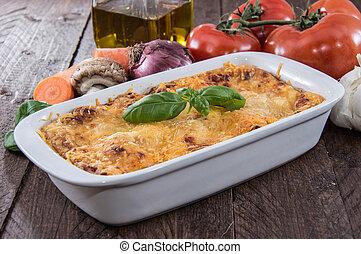Lasagna in a gratin dish