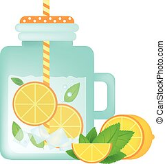 Fresh homemade lemonade in vintage mason jar with orange, ice, mint and orange slice.