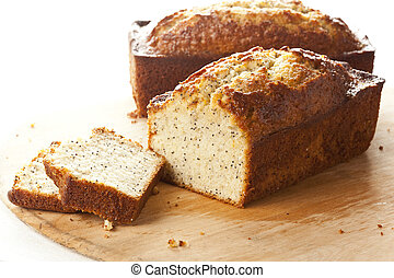 Fresh Homemade Poppy Seed Bread on a background