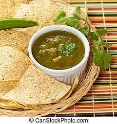 Fresh Homemade Salsa Verde with tortilla chips