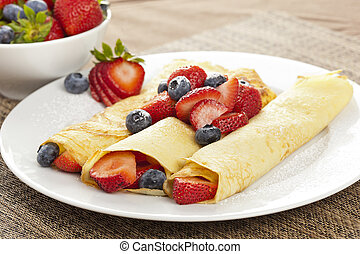 Fresh Homemade Strawberry Crepes