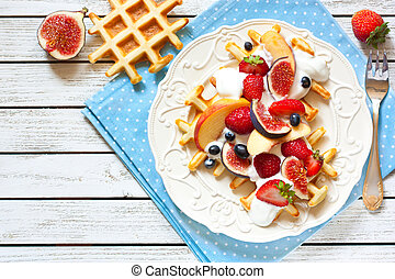 Fresh homemade waffles.