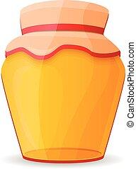Fresh honey jar icon, cartoon style