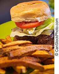 Fresh Hot Burger with French Fries