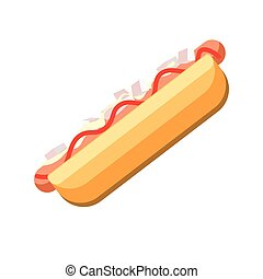 Fresh hot dog with tasty sauces isolated cartoon illustration