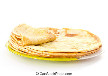 pancakes - Fresh hot pancakes on a plate on a white...