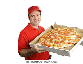 Fresh Hot Pizza Delivered - A pizza delivery man holding a...