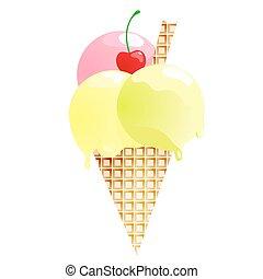 Fresh ice cream isolated on white background. Vector illustration
