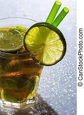 Fresh ice tea with lime