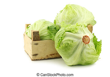fresh iceberg lettuce in a wooden crate on a white background