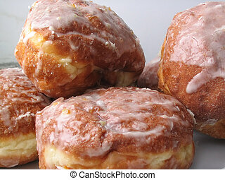 fresh iced donuts, close-up