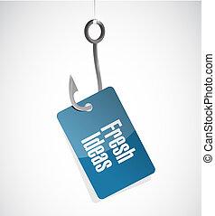 Fresh Ideas fishing hook sign concept