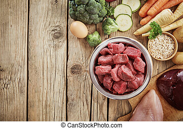 Fresh ingredients for a healthy dog diet