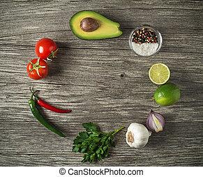 Avocado guacamole - Fresh ingredients for Avocado guacamole...