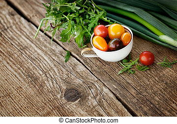 Fresh ingredients for cooking in rustic setting. Healthy ...